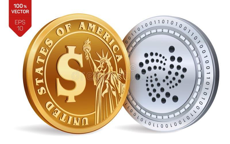 iota Moneta del dollaro monete fisiche isometriche 3D Valuta di Digital Cryptocurrency Monete dorate e d'argento con lo sym del d royalty illustrazione gratis