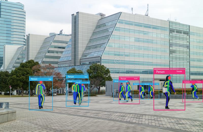 Iotmachine die met mens en objecten erkenning leren die kunstmatige intelligentie aan metingen, analitisch en identiek c gebruikt stock afbeelding