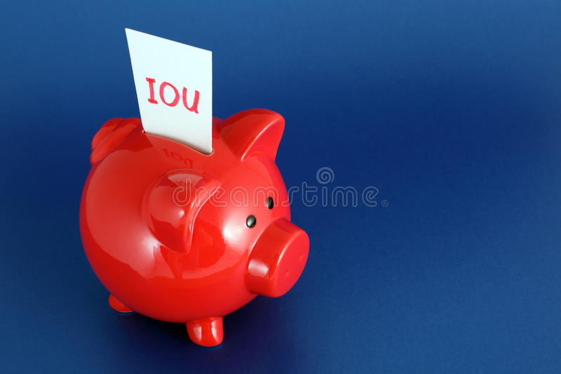 Download IOU Piggy Bank stock photo. Image of colour, space, poverty - 9592956
