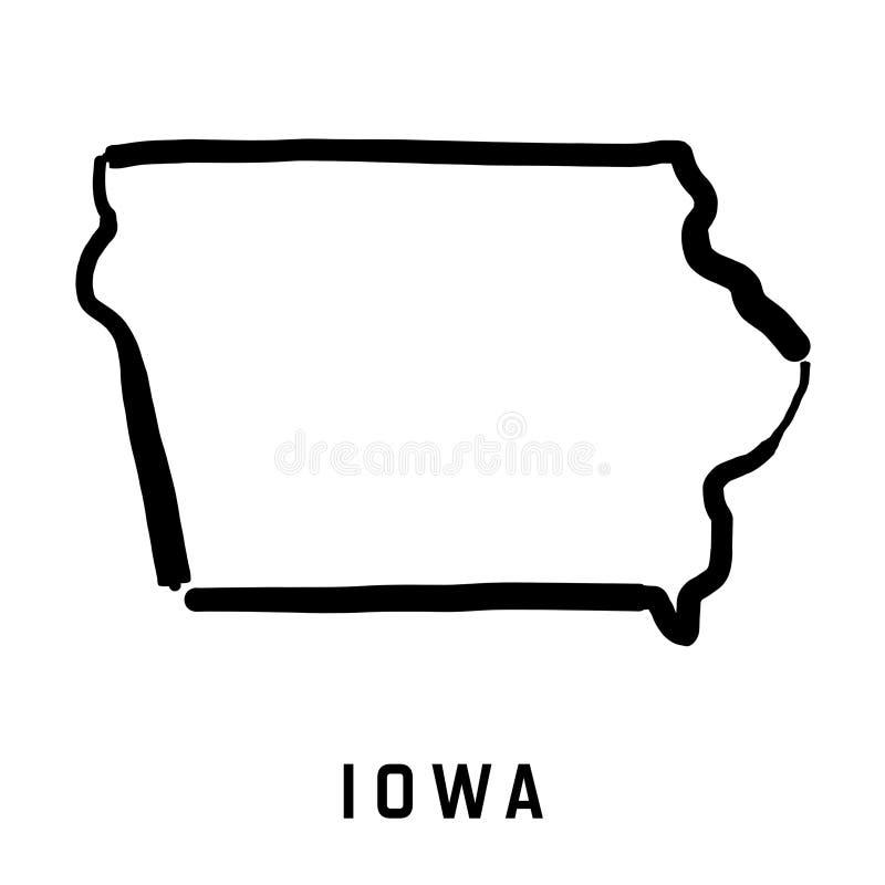 Iowa översikt royaltyfri illustrationer