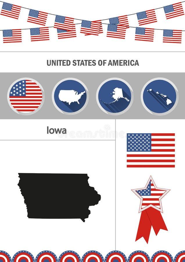 iowa översikt Uppsättning av plana beståndsdelar för designsymbolsnfographics med royaltyfri illustrationer