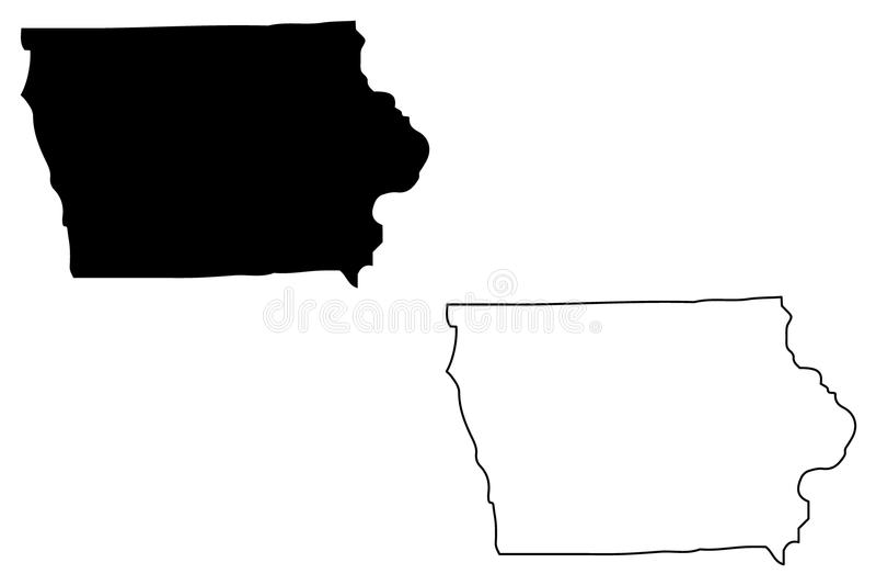 Iowa översiktsvektor vektor illustrationer