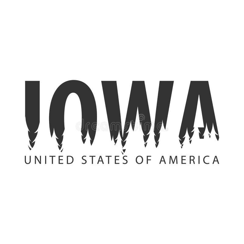 Iowa ΗΠΑ η Αμερική δηλώνει ενωμένο Κείμενο ή ετικέτες με τη σκιαγραφία του δάσους διανυσματική απεικόνιση