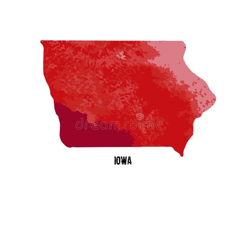 Iowa η Αμερική δηλώνει ενωμένο επίσης corel σύρετε το διάνυσμα απεικόνισης watercolor απεικόνιση αποθεμάτων