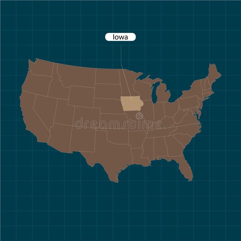 Iowa Κράτη του εδάφους της Αμερικής στο σκοτεινό υπόβαθρο Χωριστό κράτος επίσης corel σύρετε το διάνυσμα απεικόνισης ελεύθερη απεικόνιση δικαιώματος