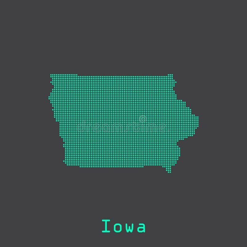 Iowa abstrakt kropkuje stan mapę Kropkowany styl royalty ilustracja