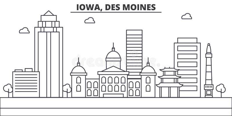Iowa, Des Moines architektury linii linii horyzontu ilustracja Liniowy wektorowy pejzaż miejski z sławnymi punktami zwrotnymi, mi ilustracji