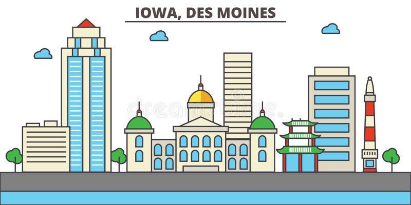 Iowa, Des Moines tła miasta projekta linia horyzontu wektor twój ilustracja wektor