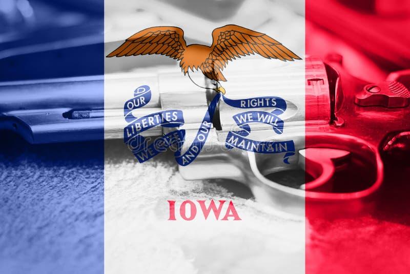 Iowa flag U.S. state Gun Control USA. United States Gun Law stock photo