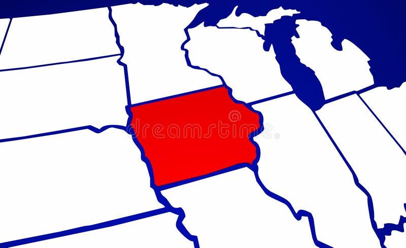 Iowa IA stan Stany Zjednoczone Ameryka stanu mapa ilustracja wektor