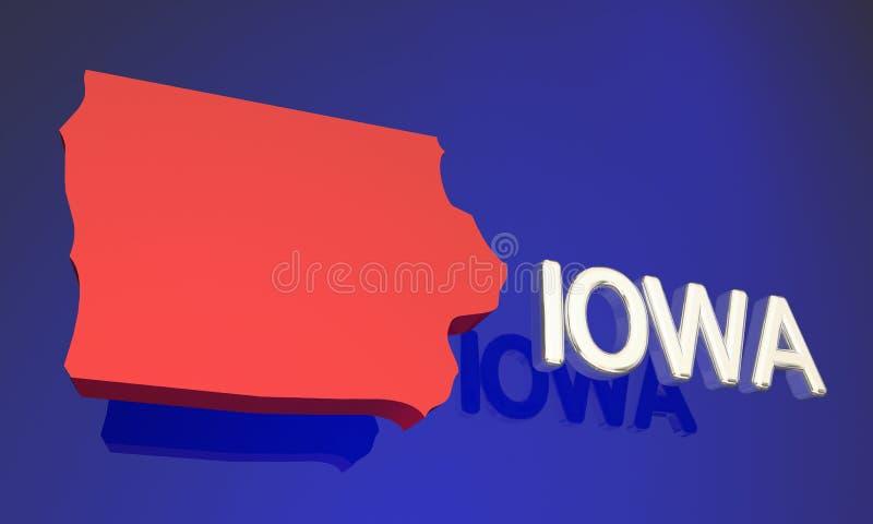 Iowa IA stanu mapy Czerwony imię ilustracja wektor