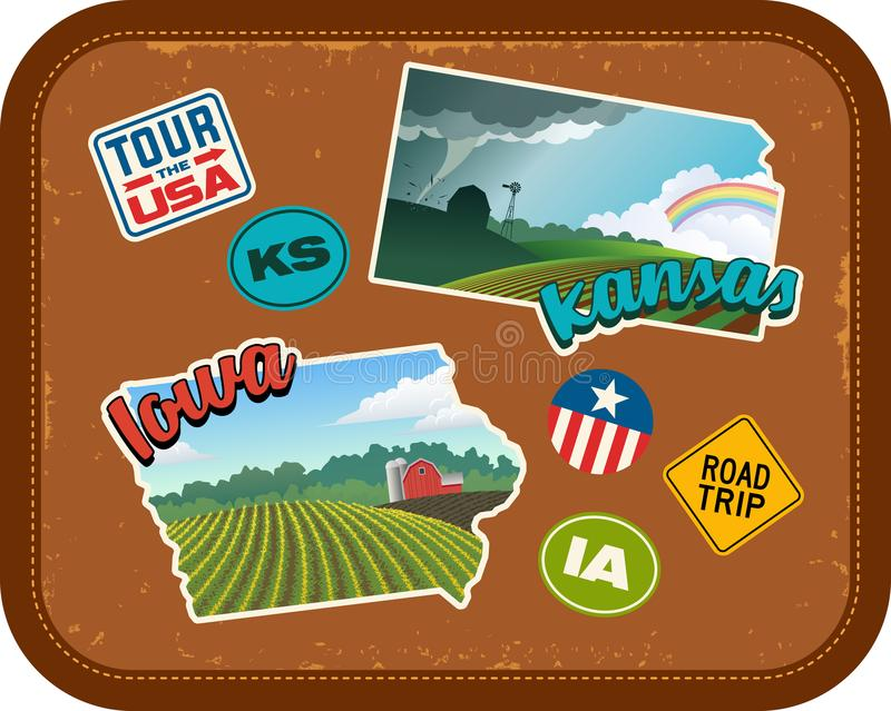 Iowa and Kansas travel stickers with scenic rural landscapes vector illustration