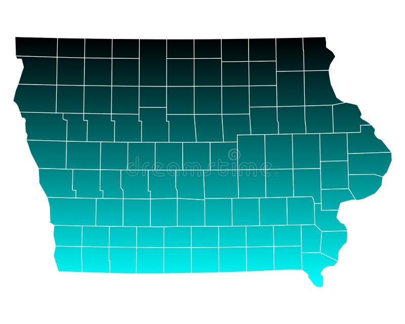 iowa mapa royalty ilustracja