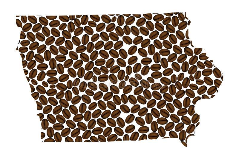 Iowa - mapa do feijão de café ilustração do vetor