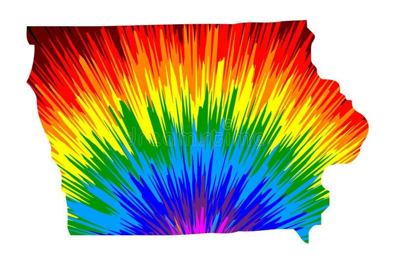 Iowa - mapa jest projektującym tęczy abstrakcjonistycznym kolorowym wzorem royalty ilustracja