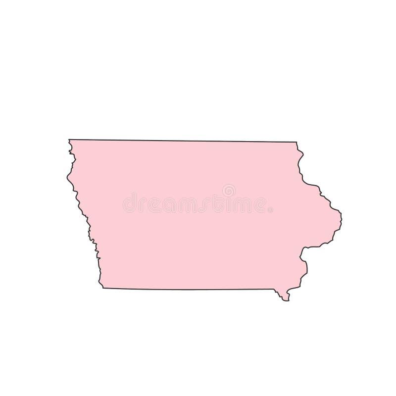Iowa mapa odizolowywająca na białej tło sylwetce Iowa usa stan ilustracja wektor