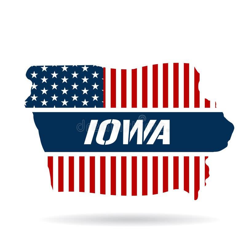 Iowa mapy Patriotyczna ilustracja ilustracja wektor
