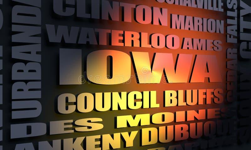 Iowa-Stadtliste lizenzfreie abbildung