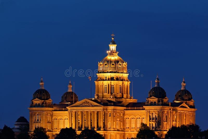 Iowa State Capitol at Night stock image