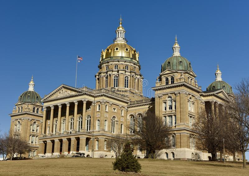 Iowa State Capitol. This is a Winter picture of the Iowa State Capitol Building located in Des Moines, Iowa. The structure was designed by John C. Cochran and stock image