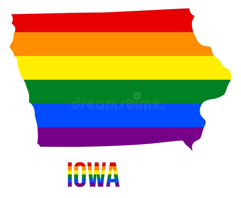 Iowa State Map in LGBT Rainbow Flag Comprised Six Stripes With Iowa LGBT Text. The Flag Comprised Six Stripes; Meaning to Each of The Colors: Life, Healing vector illustration