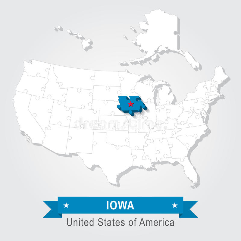 Iowa State USA Administrative Map Stock Vector Image 59971409