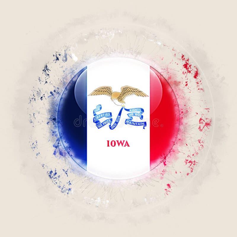 Iowa statflagga på en rund grungesymbol Förenta staterna lokal flagga vektor illustrationer