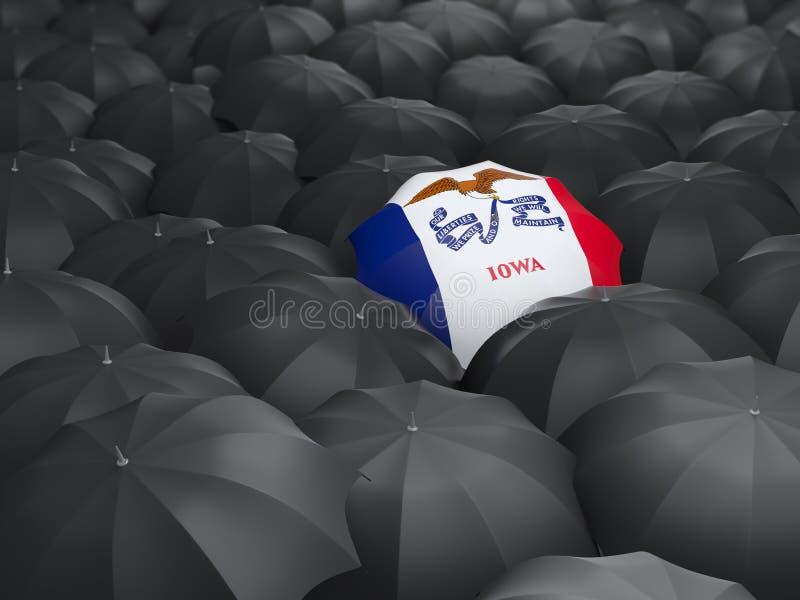 Iowa statflagga på paraplyet Förenta staterna lokalflaggor vektor illustrationer