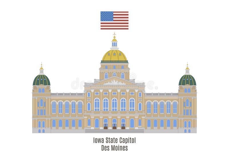 Iowa statKapitolium, Des Moines stock illustrationer