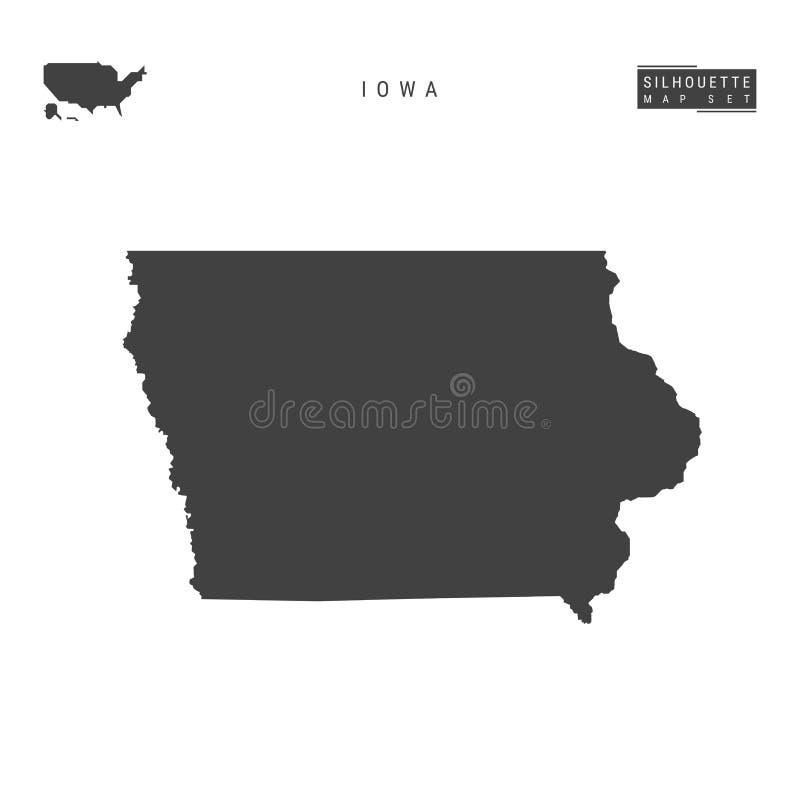 Iowa USA påstår vektoröversikten som isoleras på vit bakgrund Hög-specificerad svart konturöversikt av Iowa stock illustrationer