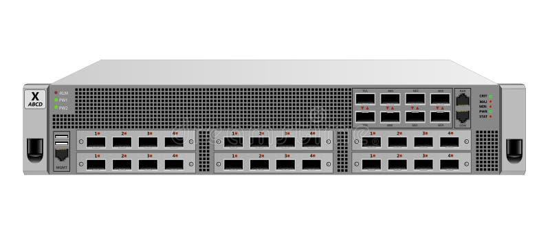 IP设施的一个19英寸机架的,2个单位交通路由器 有光学SFP模块的六个任意附加模块 库存例证