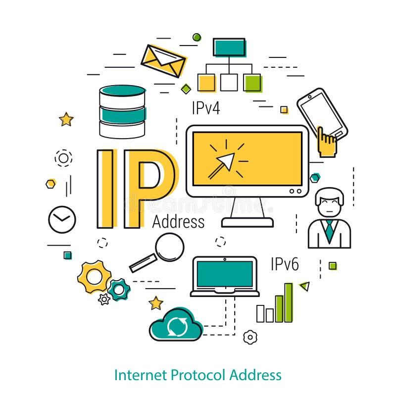 IP address - Linie Konzept vektor abbildung