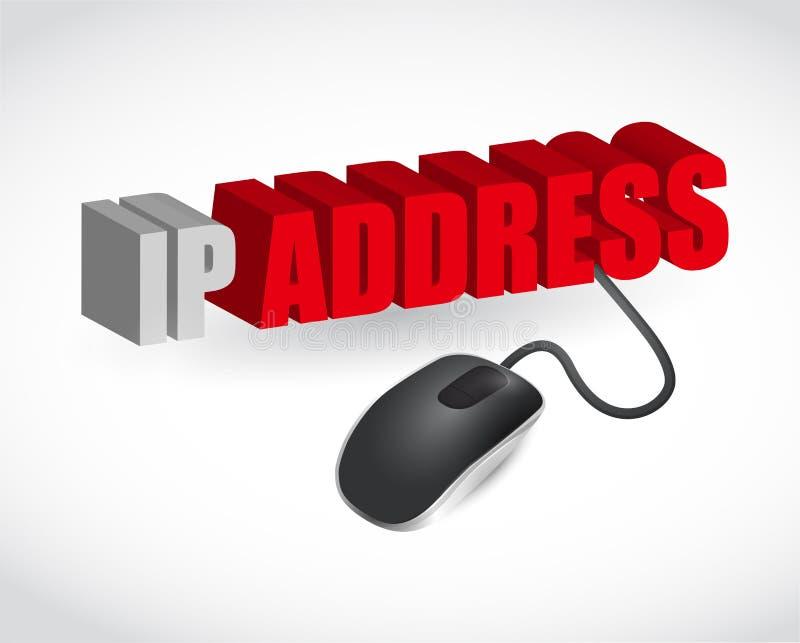Ip address sign and mouse illustration design. Over white royalty free illustration