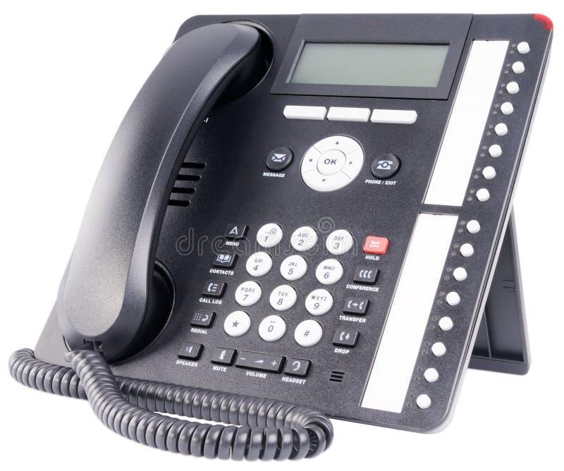 IP hone set isolated on white. Office IP multi-button telephone set isolated on the white royalty free stock photo