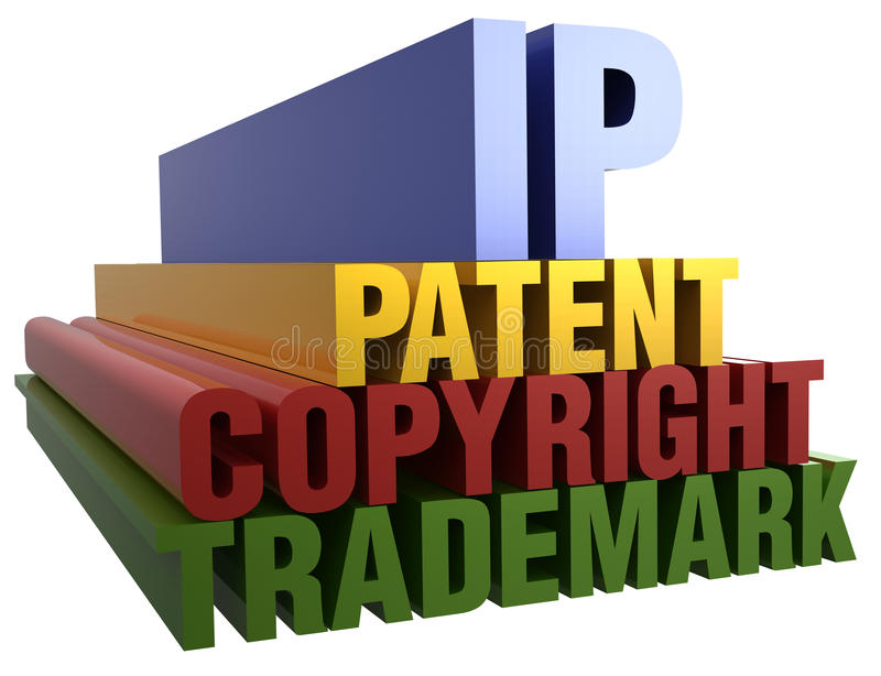 IP Patent Copyright Trademark words. Intellectual Property Patent Copyright Trademark 3D word stack with clipping path stock illustration