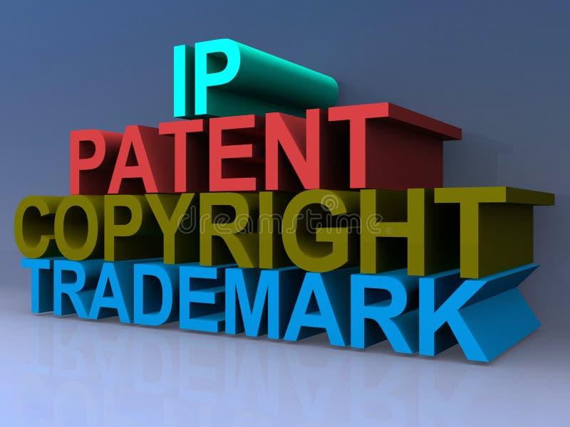 IP, patent, prawo autorskie, znak firmowy royalty ilustracja