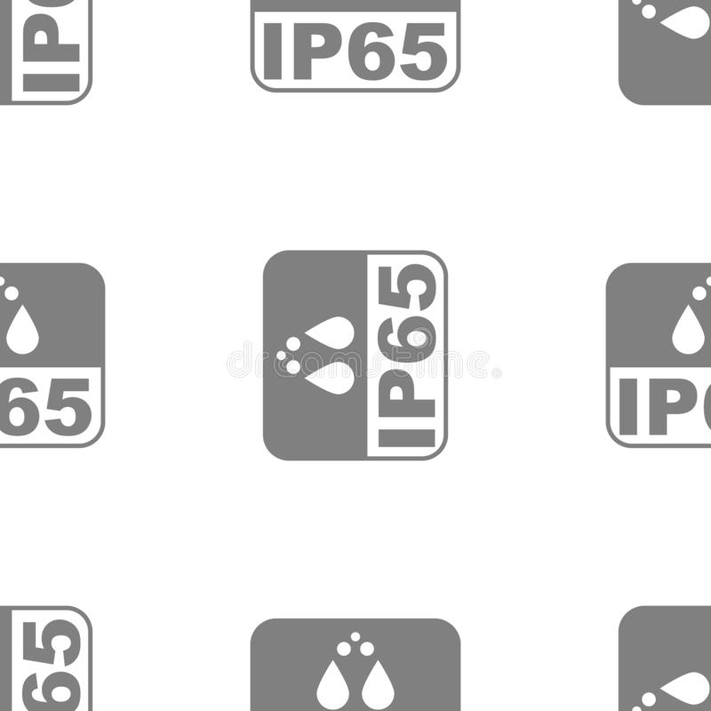 IP65 protection certificate standard icon seamless. Water and dust or solids resistant protected symbol. Vector. IP65 protection certificate standard icon vector illustration