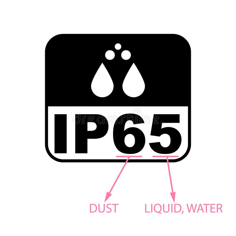 IP65 protection certificate standard icon. Water and dust or solids resistant protected symbol. Vector illustration. IP65 protection certificate standard icon royalty free illustration