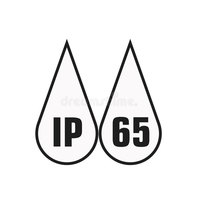 IP65 protection certificate standard icon. Water and dust or solids resistant protected symbol. Vector illustration. eps10. IP65 protection certificate standard royalty free illustration