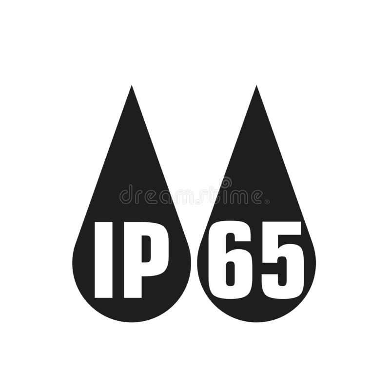 IP65 protection certificate standard icon. Water and dust or solids resistant protected symbol. Vector illustration. Eps10 royalty free illustration