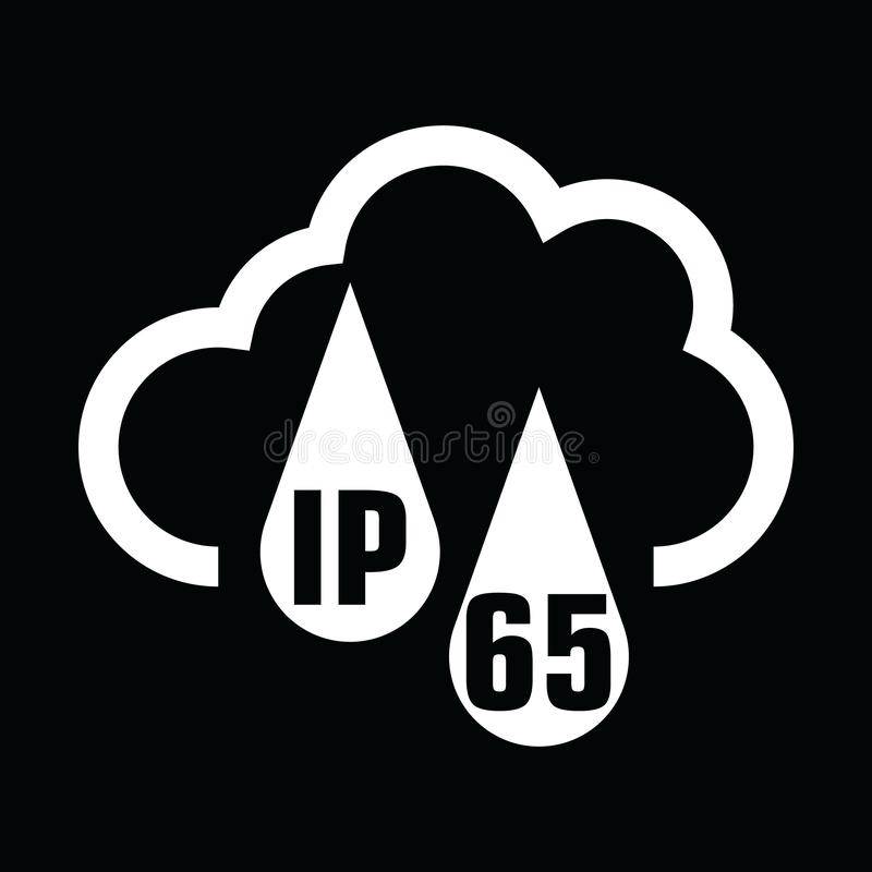 IP65 protection certificate standard icon. Water and dust or solids resistant protected symbol. Vector illustration. eps10. IP65 protection certificate standard vector illustration
