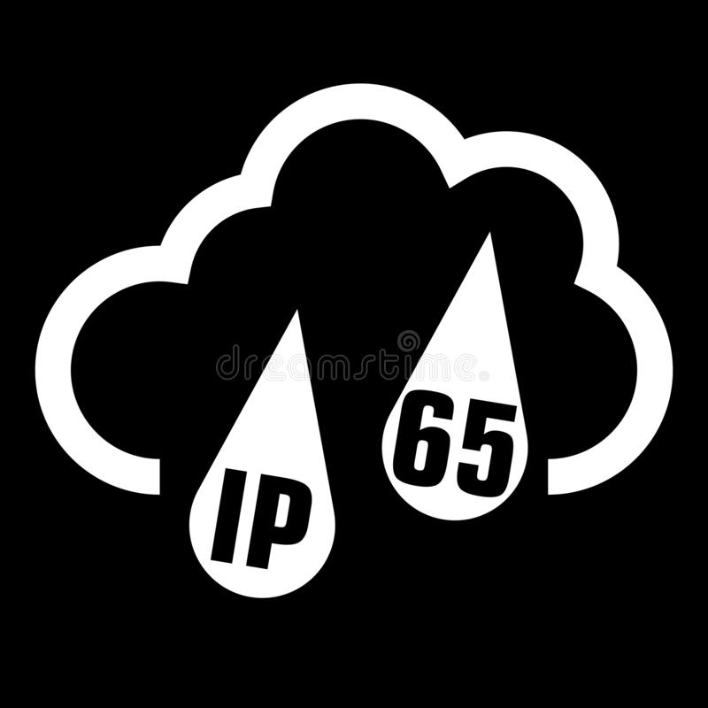 IP65 protection certificate standard icon. Water and dust or solids resistant protected symbol. Vector illustration. eps10. IP65 protection certificate standard stock illustration