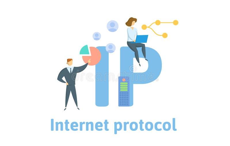 IP, protocolo IP Concepto con la gente, las letras y los iconos Ejemplo plano del vector Aislado en el fondo blanco libre illustration