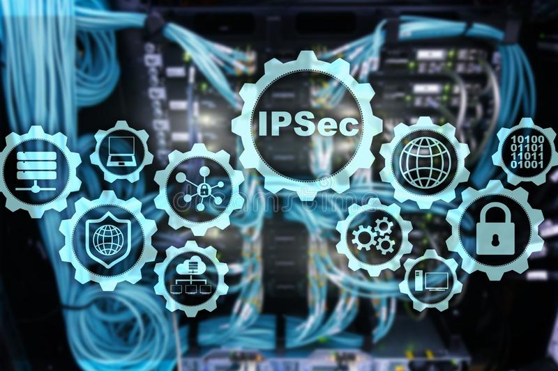 IP Security. Data Protection Protocols. IPSec. Internet and Protection Network concept.  royalty free stock photos
