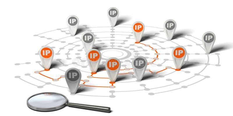 Ip-spårning stock illustrationer