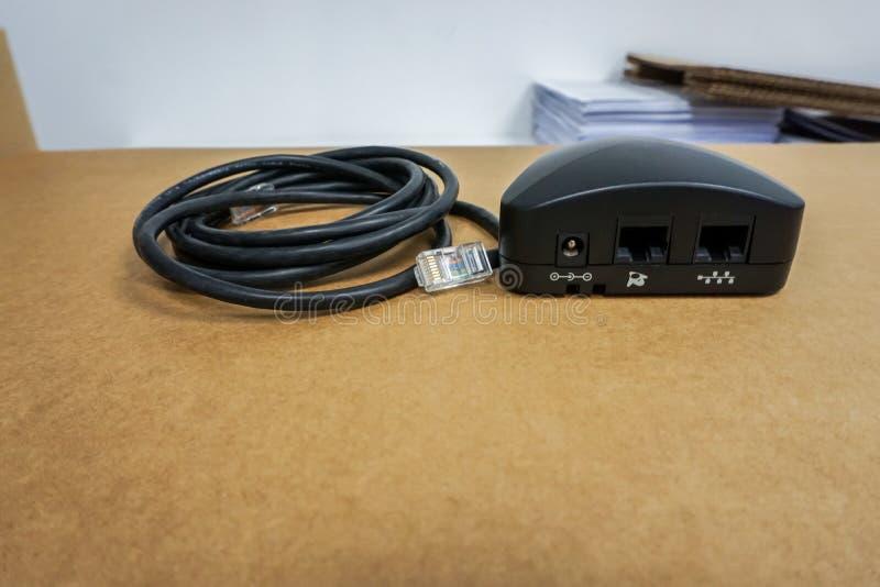 IP-Telefonhafen mit Kabeldraht lizenzfreies stockbild
