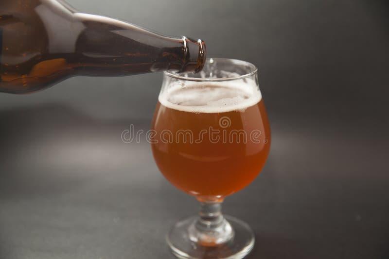 IPA-öl i exponeringsglas royaltyfri fotografi