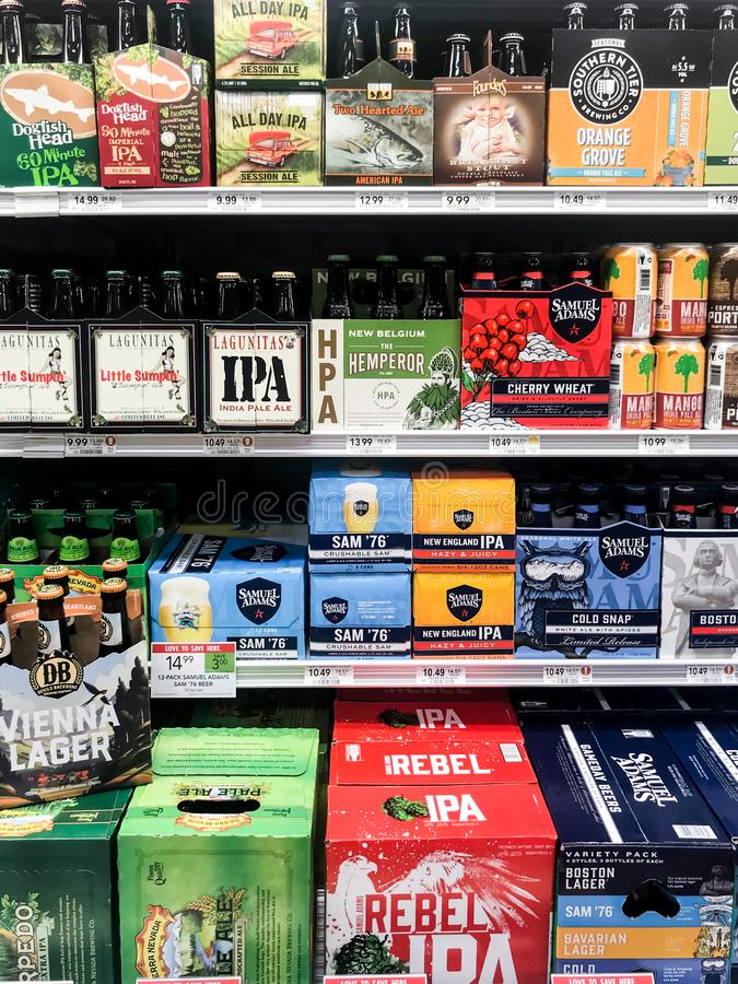 IPA Ales for Sale in Publix Grocery Store obraz stock