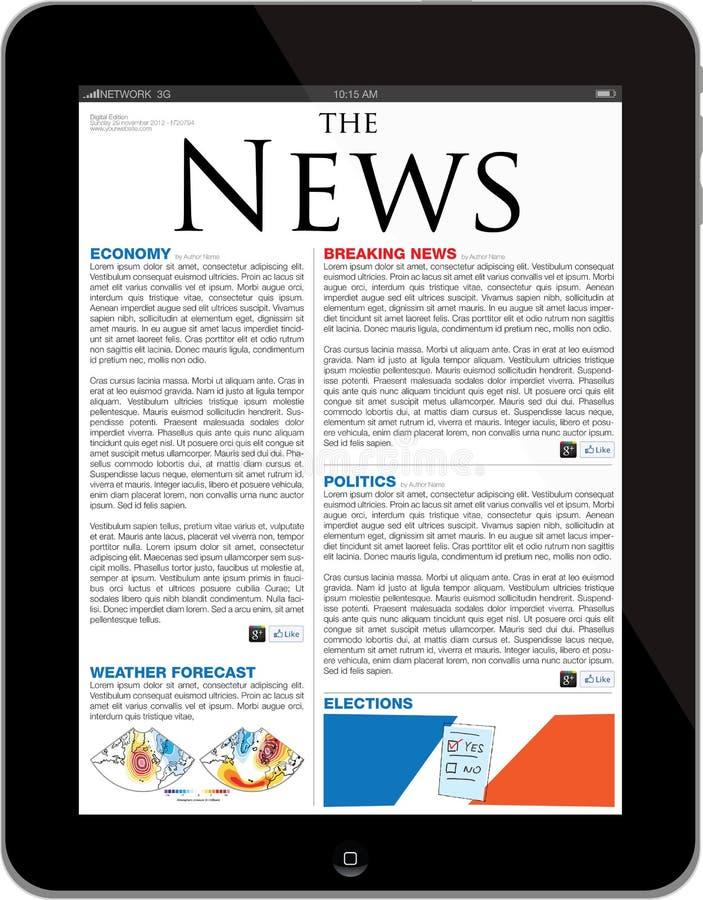 ipad πρότυπο περιοχών ειδήσεων απεικόνιση αποθεμάτων