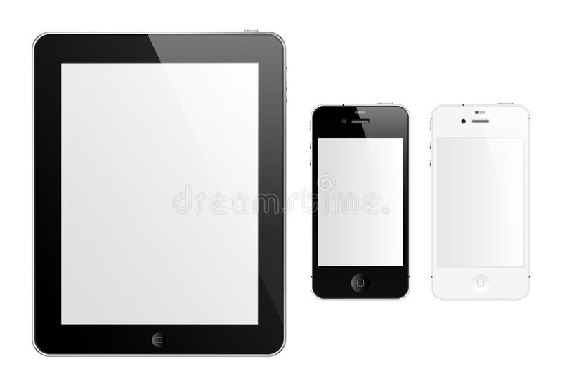 IPad 2 and iPhone 4S. Black iPad 2 and black and white iPhone 4S vector illustration